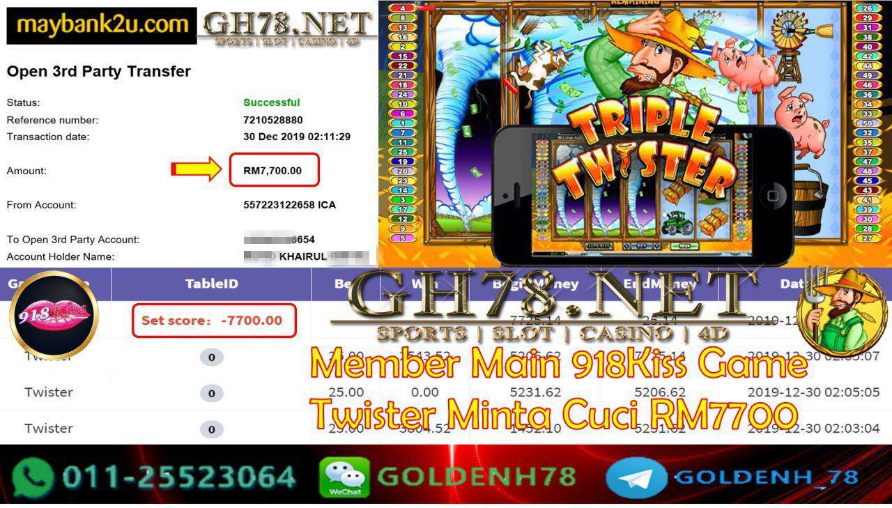 918KISS FT.TWISTER CASHOUT RM7700!!! SUDAH MAU 2020 NEW YEARRR!!