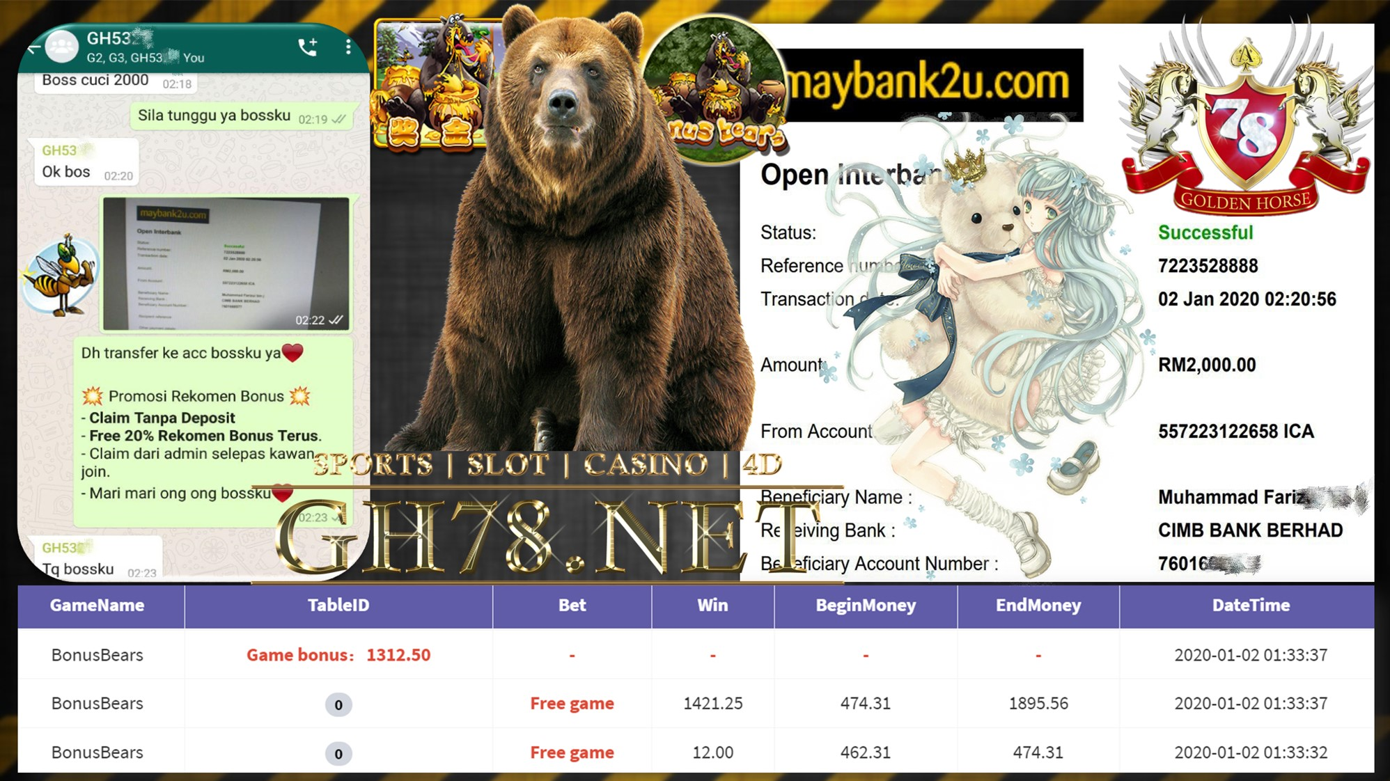 2020 NEW YEAR !!! MEMBER MAIN 918KISS FT.BONUSBEARS WITHDRAW RM2000 !!!