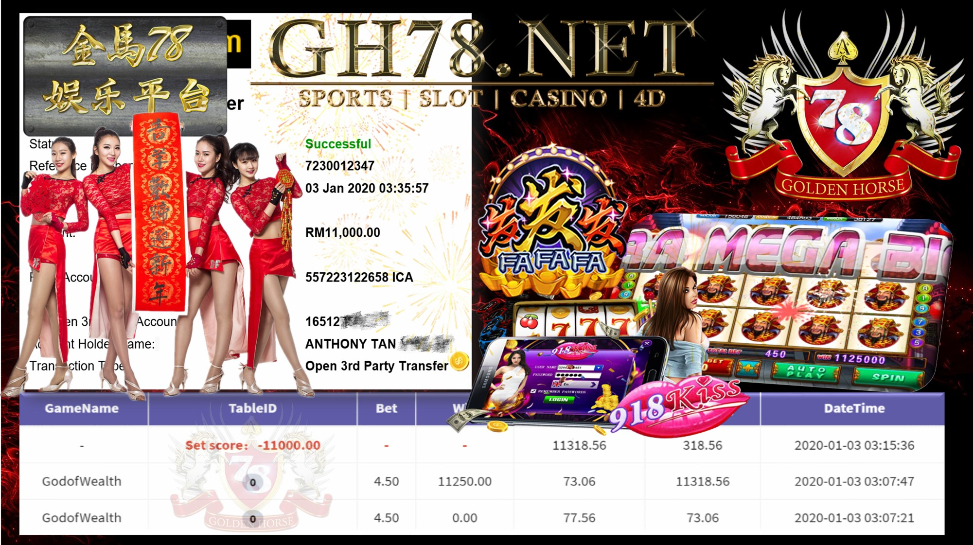 2020 NEW YEAR !!! MEMBER MAIN 918KISS FT.GODOFWEALTH WITHDRAW RM11,000 !!!
