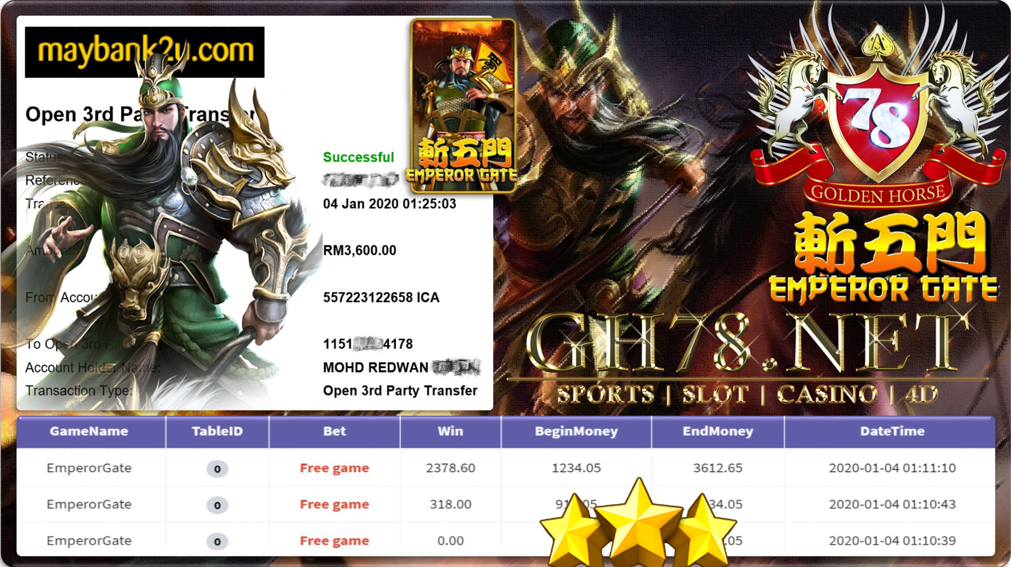 2020 NEW YEAR !!! MEMBER MAIN 918KISS FT.EMPERORGATE WITHDRAW RM3600 !!!