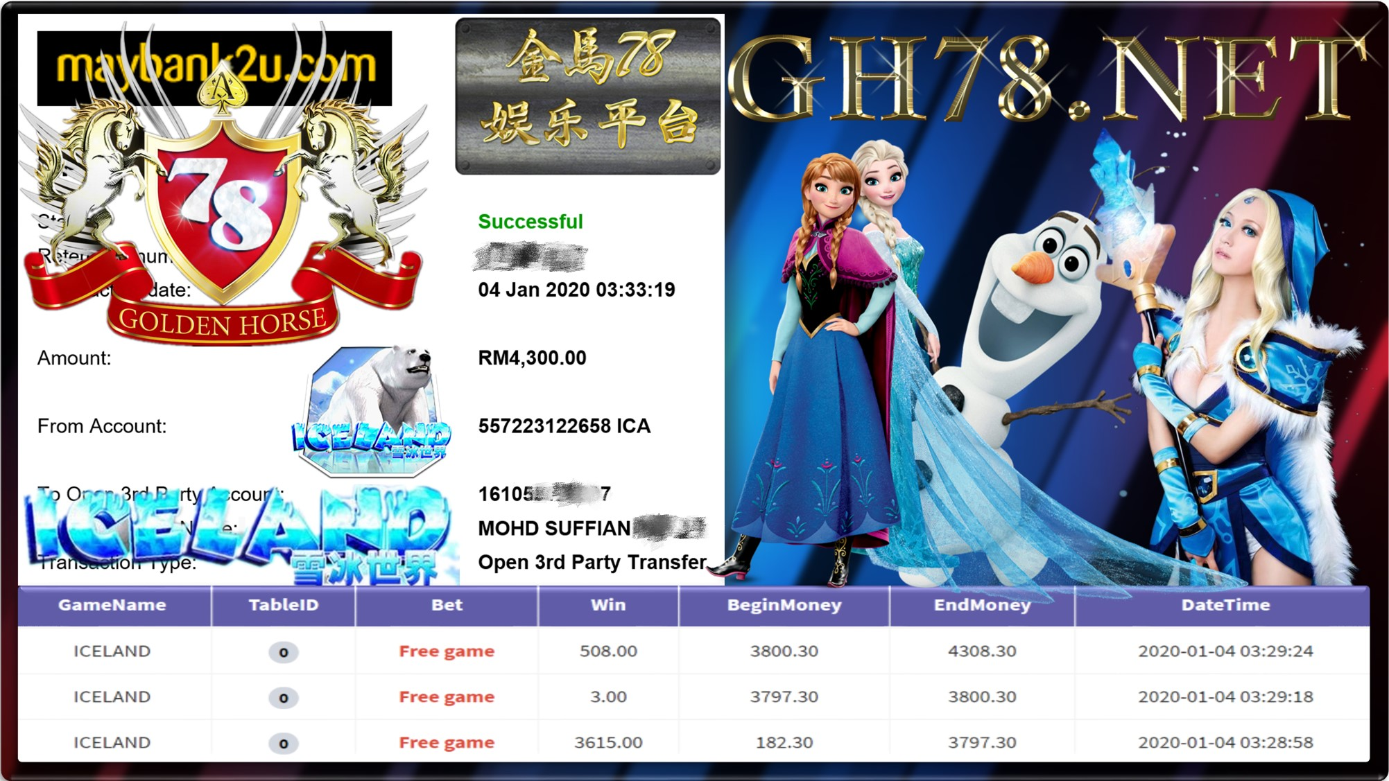 2020 NEW YEAR !!! MEMBER MAIN 918KISS FT.ICELAND WITHDRAW RM4300 !!!