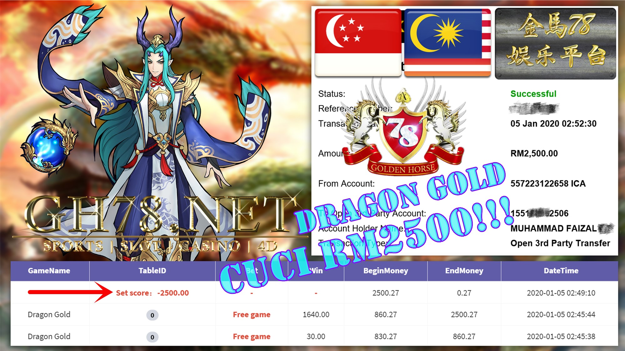 2020 NEW YEAR !!! MEMBER MAIN 918KISS FT.DRAGONGOLD WITHDRAW RM2500 !!!