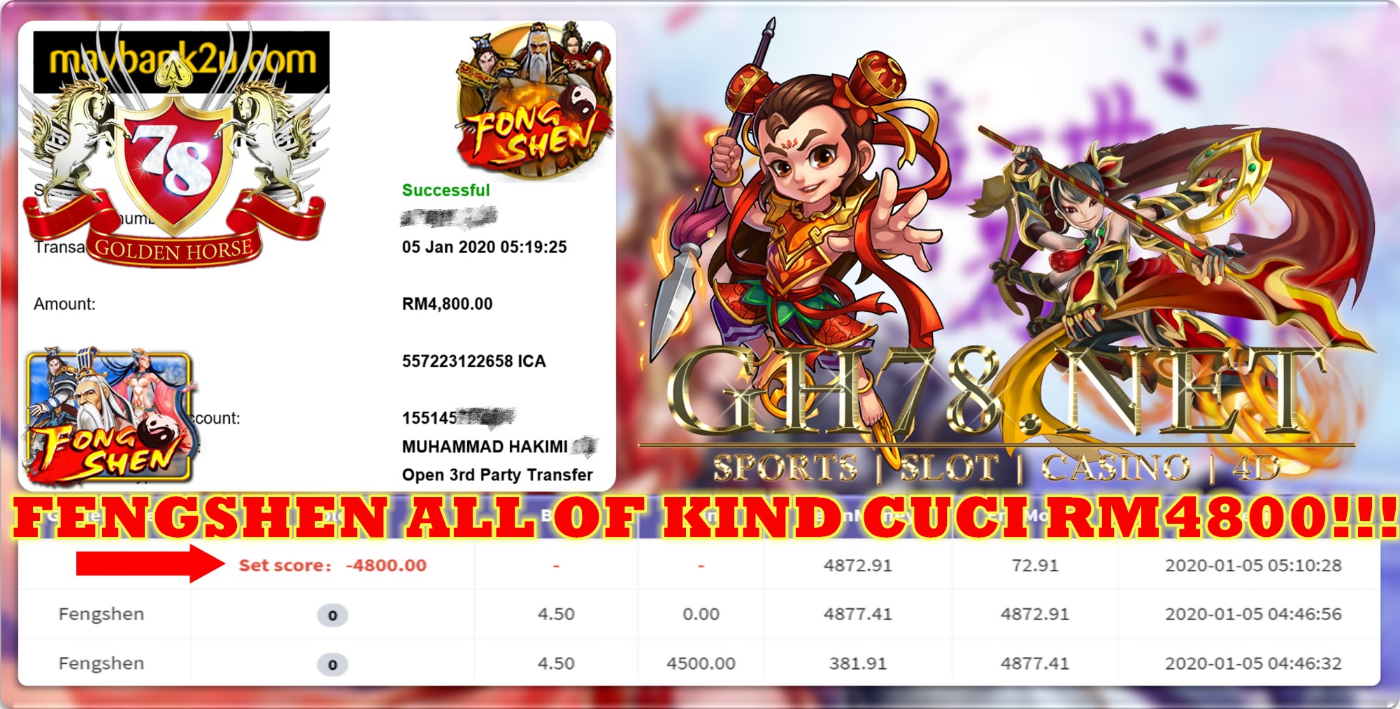 2020 NEW YEAR !!! MEMBER MAIN 918KISS FT.FENGSHEN WITHDRAW RM4800 !!!