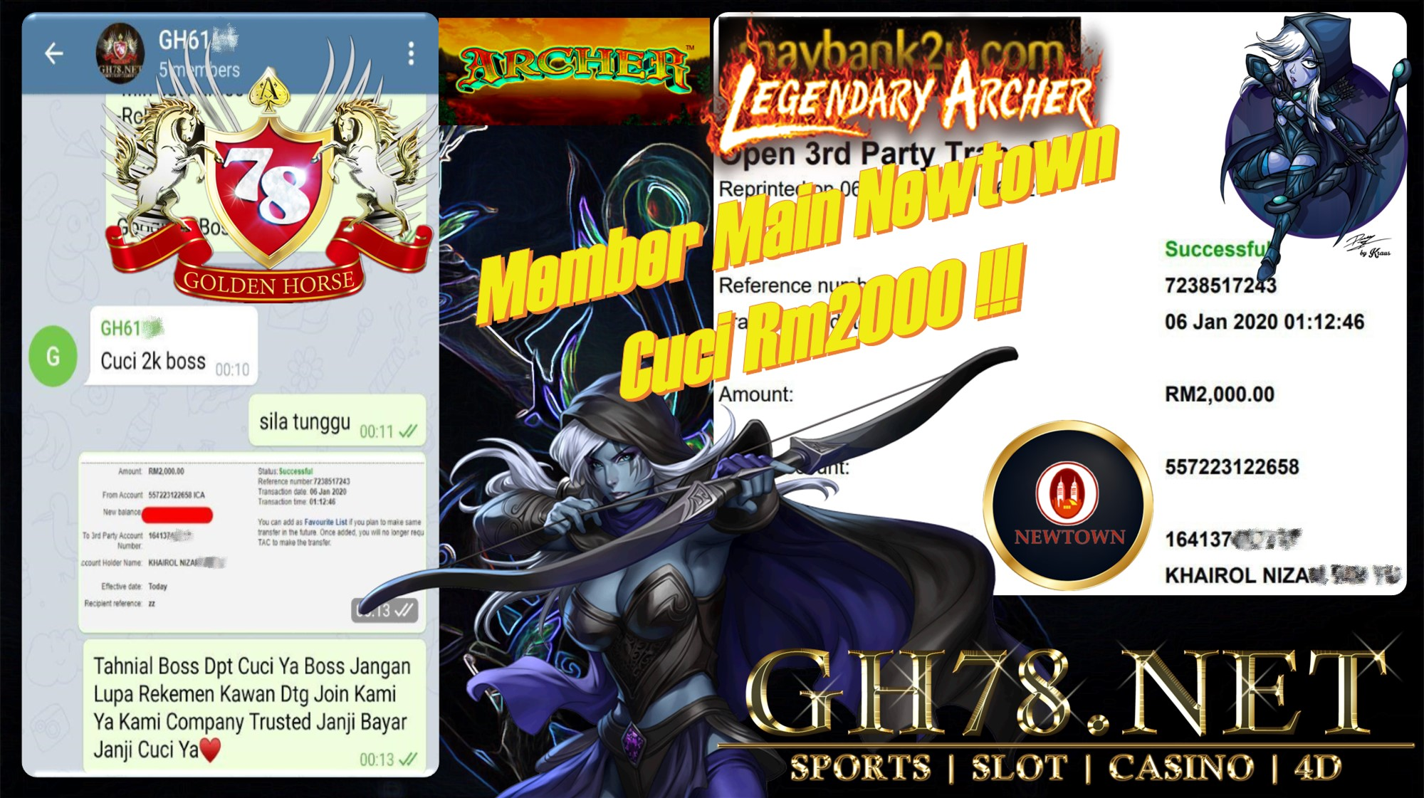 2020 NEW YEAR !!! MEMBER MAIN NEWTOWN FT.ARCHER WITHDRAW RM2000 !!!