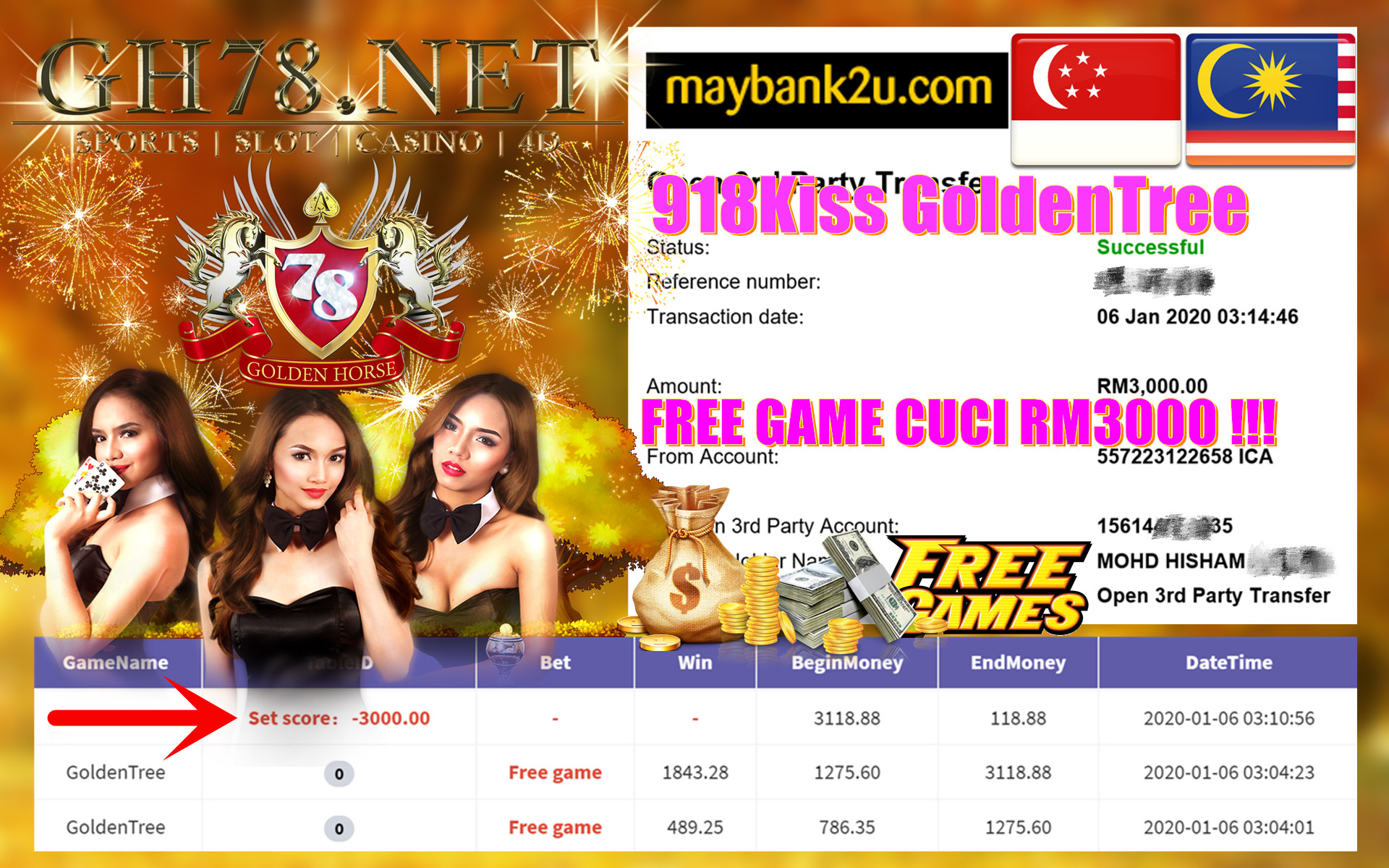 2020 NEW YEAR !!! MEMBER MAIN 918KISS FT.GOLDENTREE WITHDRAW RM3000 !!!