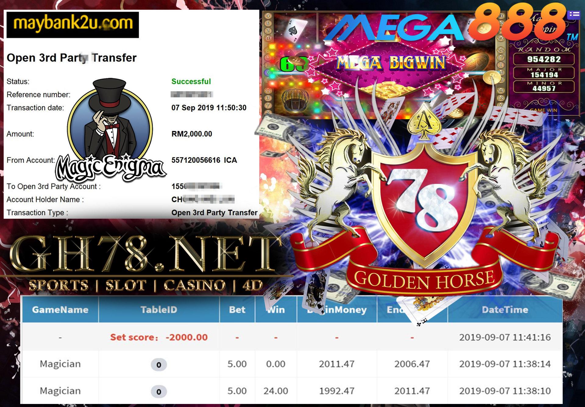 MAIN GAME MEGA888 FT.MAGICIAN MINTA OUT RM2,000