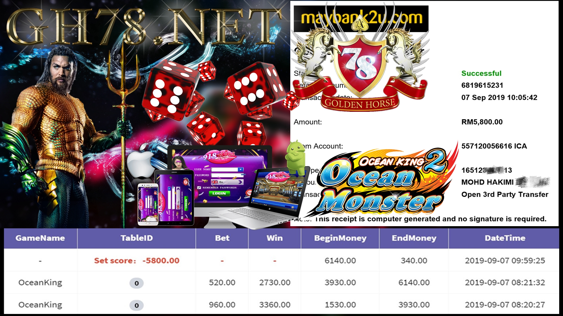 MAIN GAME 918KISS FT.OCEANKING MINTA OUT RM5,800