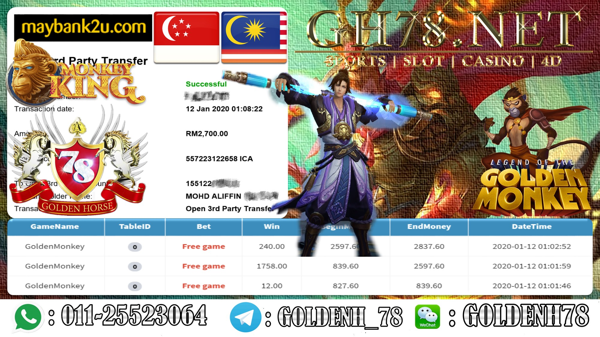 2020 NEW YEAR !!! MEMBER MAIN MEGA888 FT.GOLDENMONKEY WITHDRAW RM2700 !!!