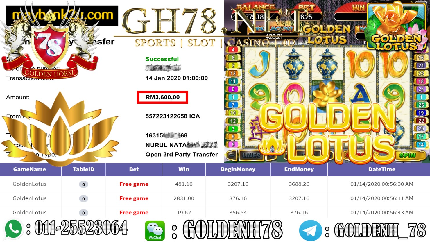 2020 NEW YEAR !!! MEMBER MAIN 918KISS FT.GOLDENLOTUS WITHDRAW RM3600 !!!