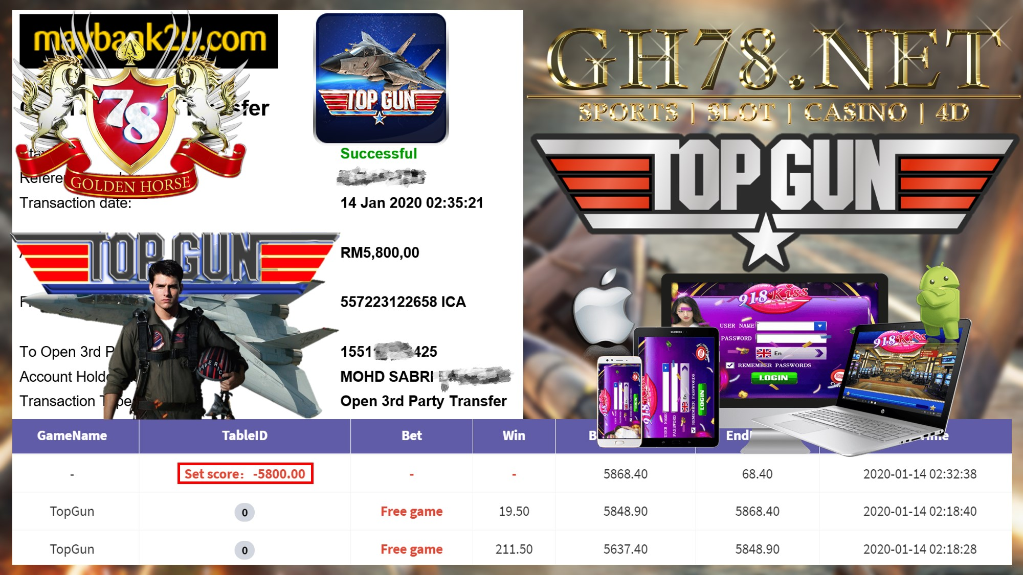 2020 NEW YEAR !!! MEMBER MAIN 918KISS FT.TOPGUN WITHDRAW RM5800 !!!