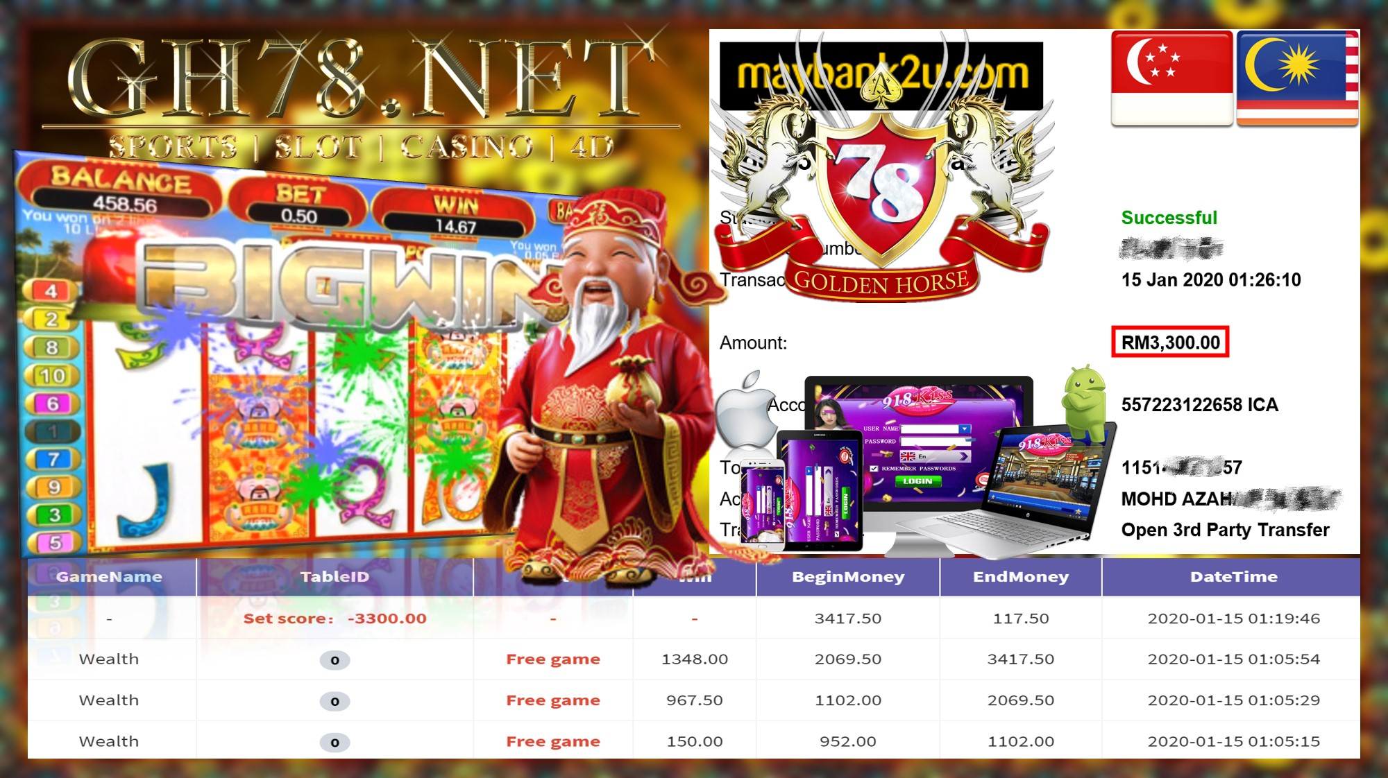 2020 NEW YEAR !!! MEMBER MAIN 918KISS FT.WEALTH WITHDRAW RM3300 !!!