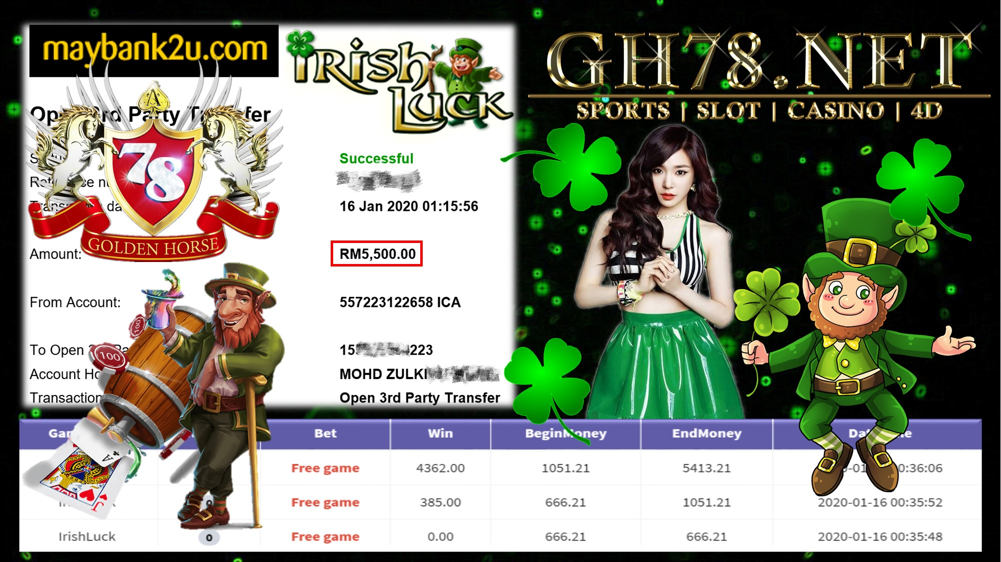 2020 NEW YEAR !!! MEMBER MAIN 918KISS FT.IRISHLUCK WITHDRAW RM5500 !!!