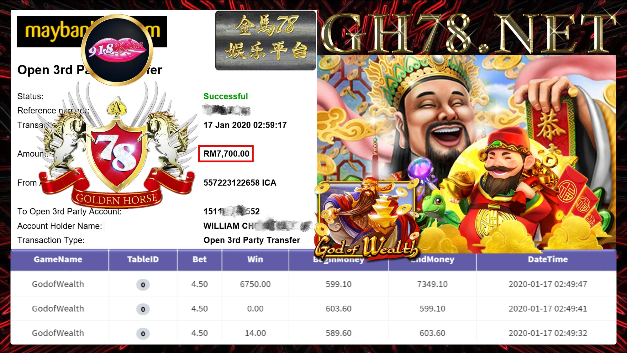 2020 NEW YEAR !!! MEMBER MAIN 918KISS FT.GODOFWEALTH WITHDRAW RM7700 !!!