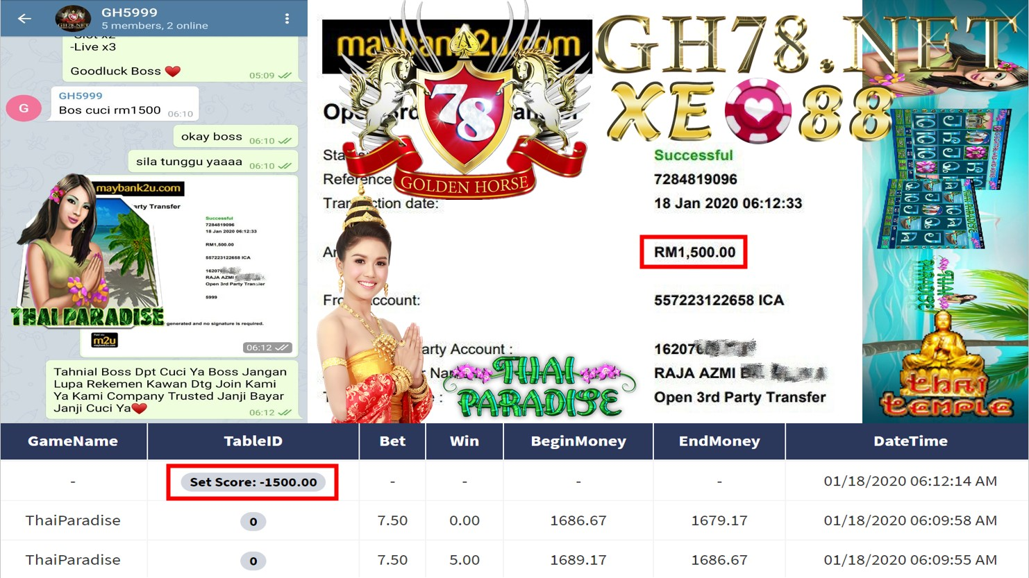 2020 NEW YEAR !!! MEMBER MAIN XE88 FT.THAI PARADISE WITHDRAW RM1500 !!!