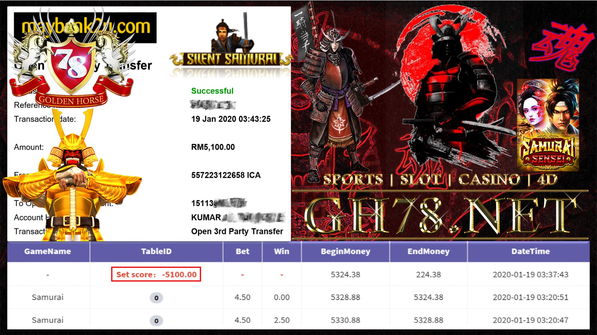 2020 NEW YEAR !!! MEMBER MAIN 918KISS , SAMURAI WITHDRAW RM5100!!!