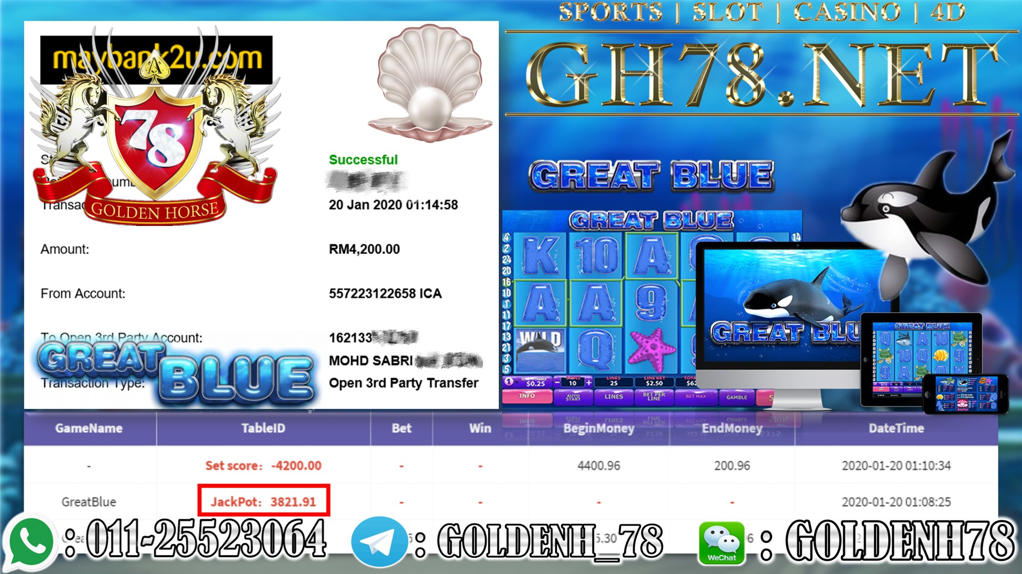 2020 NEW YEAR !!! MEMBER MAIN 918KISS, GREAT BLUE WITHDRAW RM4200 !!!