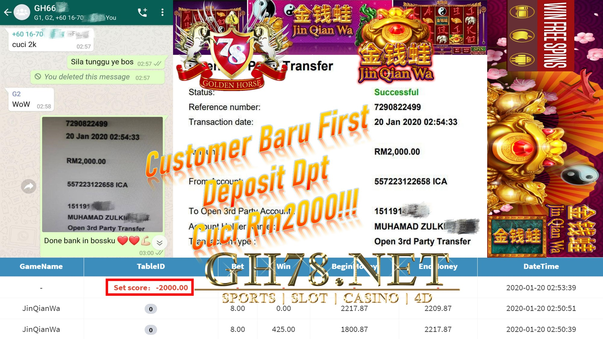 2020 NEW YEAR !!! MEMBER MAIN MEGA888, JINQIANWA WITHDRAW RM2000 !!!