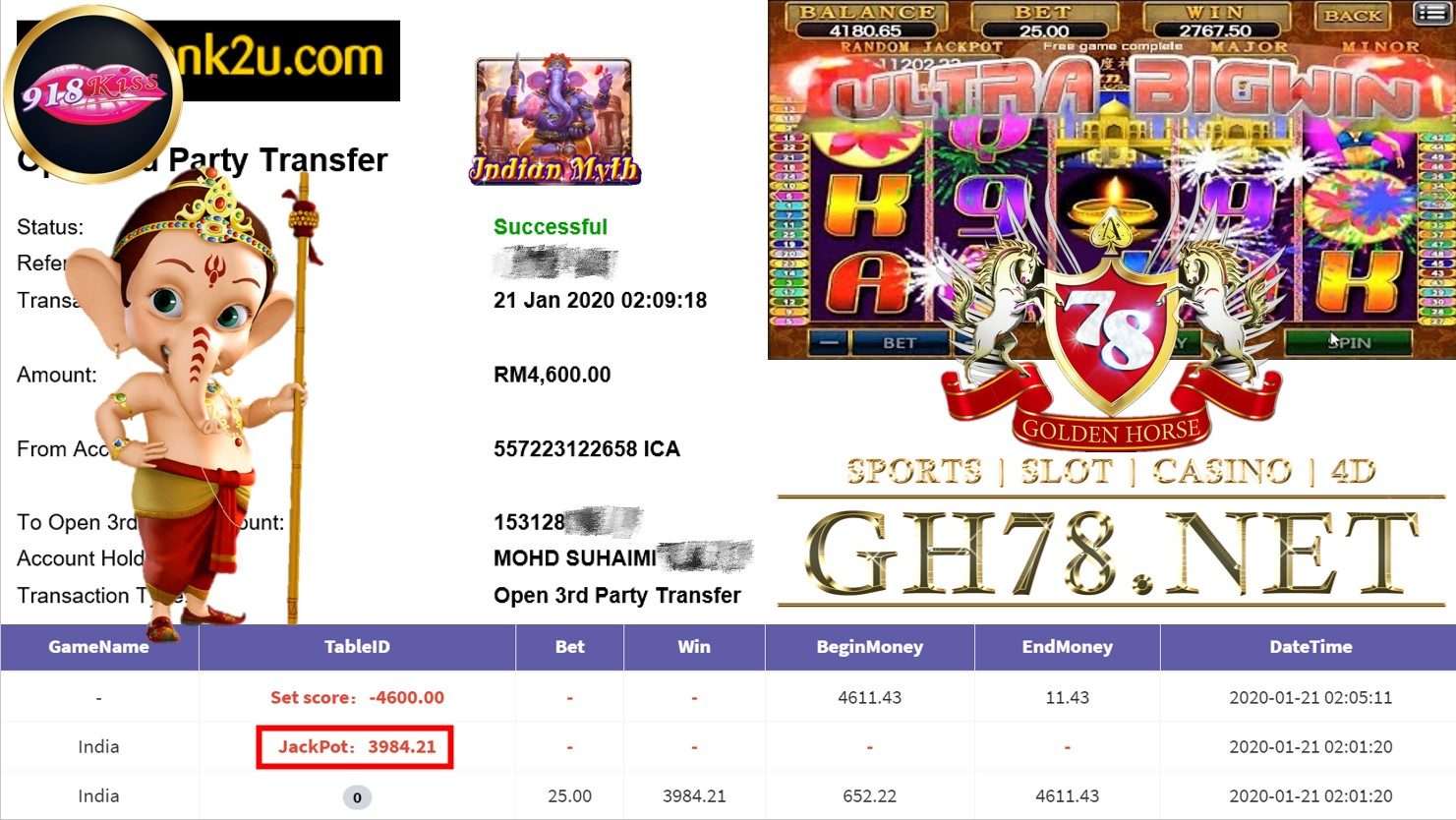2020 NEW YEAR !!! MEMBER MAIN 918KISS, SLOT INDIA ,WITHDRAW RM4600 !!!