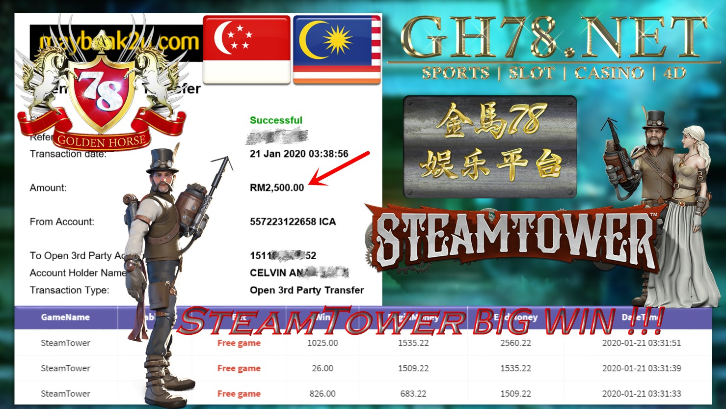 2020 NEW YEAR !!! MEMBER MAIN 918KISS, STEAM TOWER ,WITHDRAW RM2500 !!!