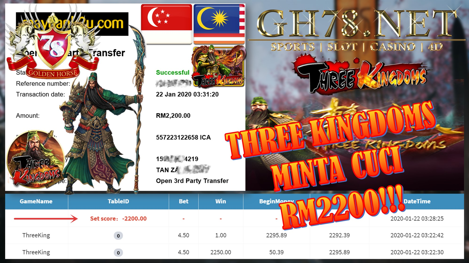 2020 NEW YEAR !!! MEMBER MAIN MEGA888, THREE KINGDOM ,WITHDRAW RM2200 !!!
