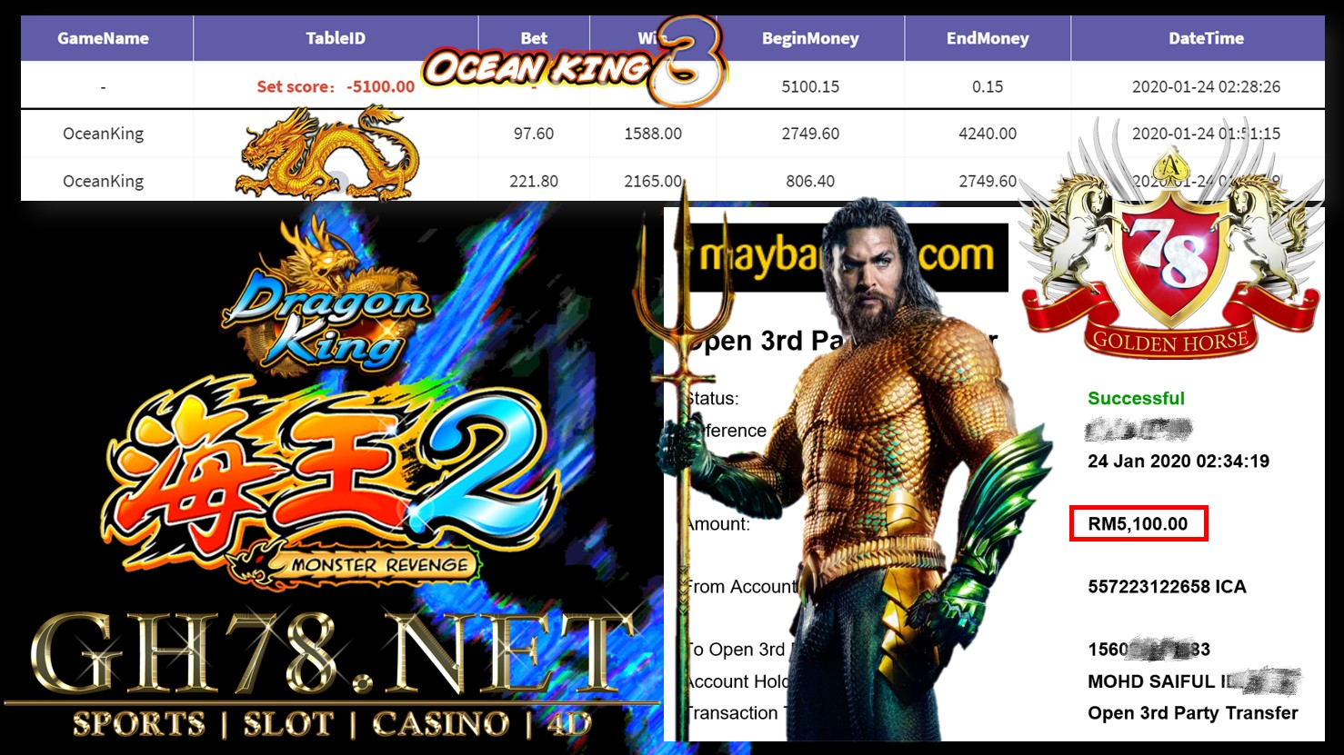 2020 NEW YEAR !!! MEMBER MAIN 918KISS, OCEAN KING ,WITHDRAW RM5100 !!!