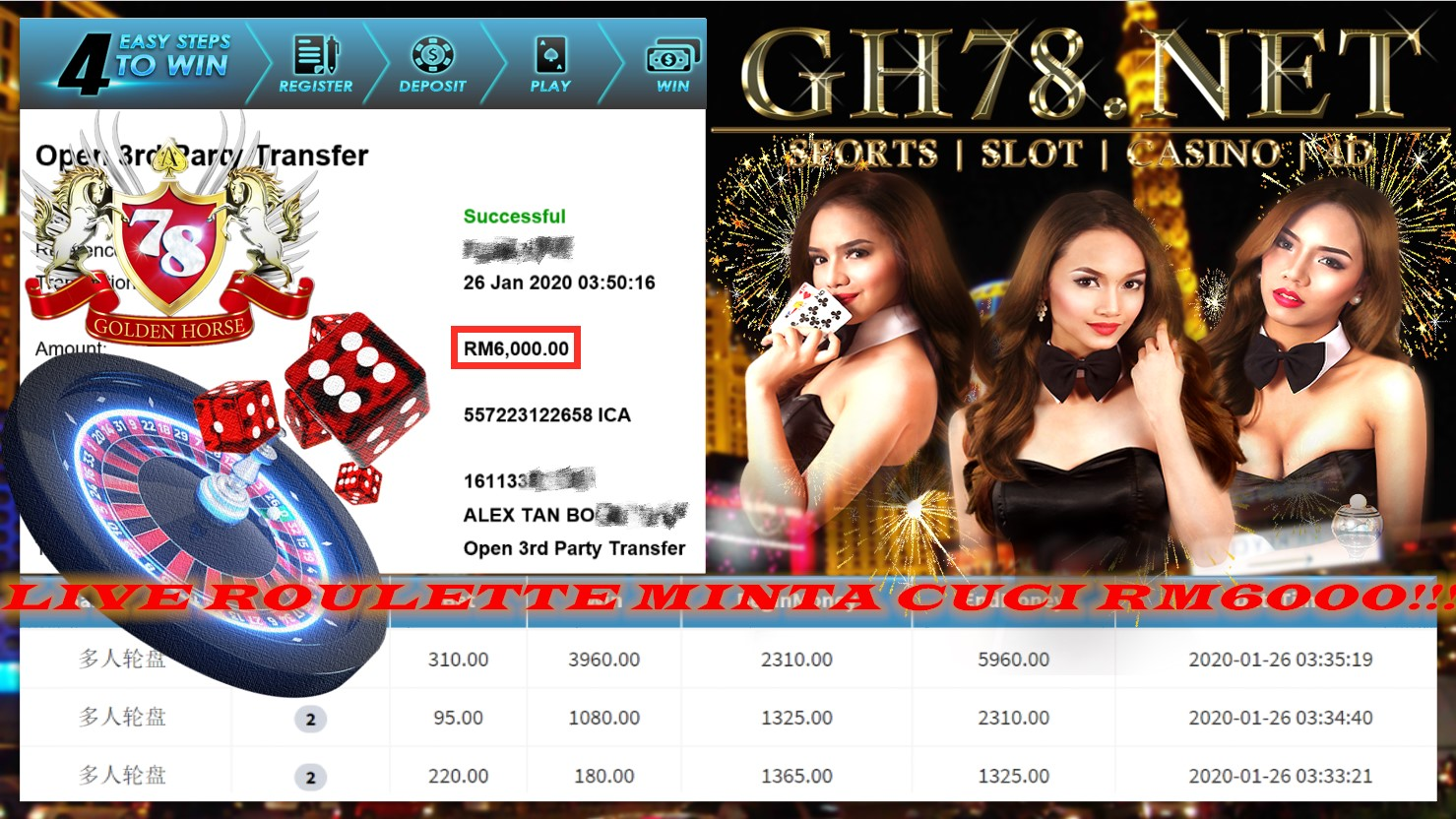 2020 NEW YEAR !!! MEMBER MAIN PUSSY888, LIVE ROULETTE ,WITHDRAW RM6000 !!!