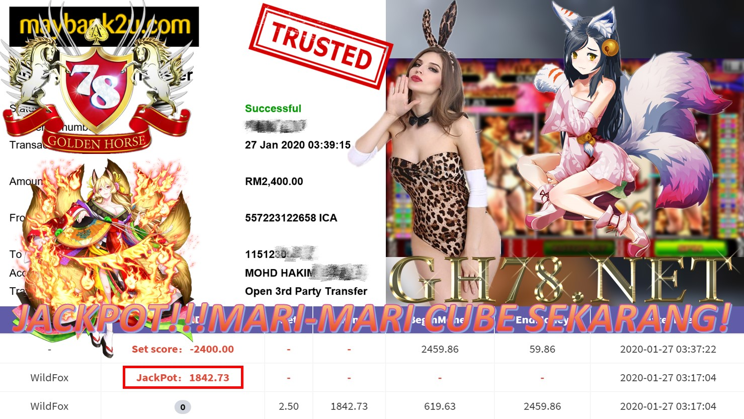 2020 NEW YEAR !!! MEMBER MAIN 918KISS, WILD FOX ,WITHDRAW RM2400 !!!