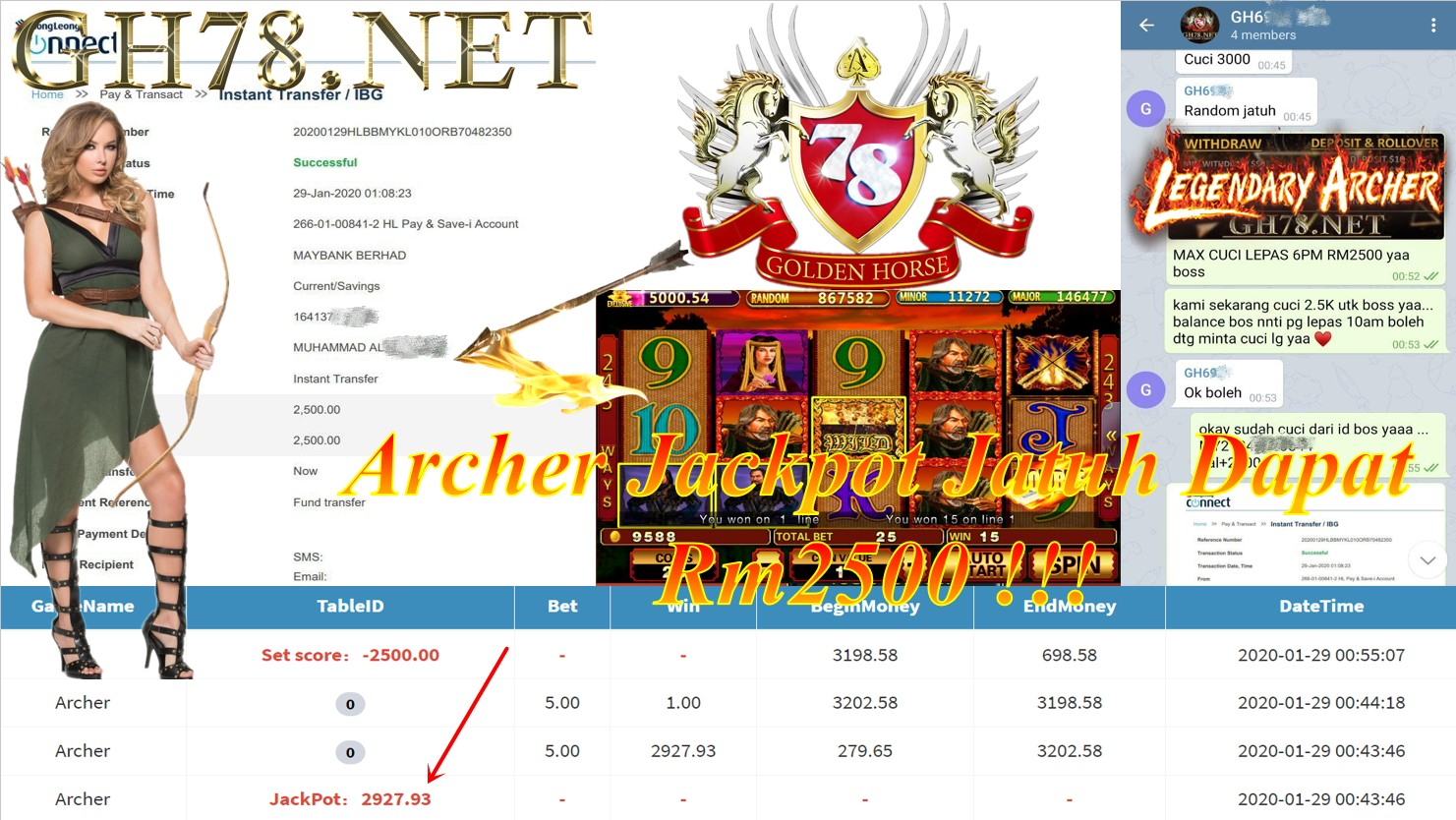 2020 NEW YEAR !!! MEMBER MAIN PUSSY888, ARCHER , WITHDRAW RM2500!!!!