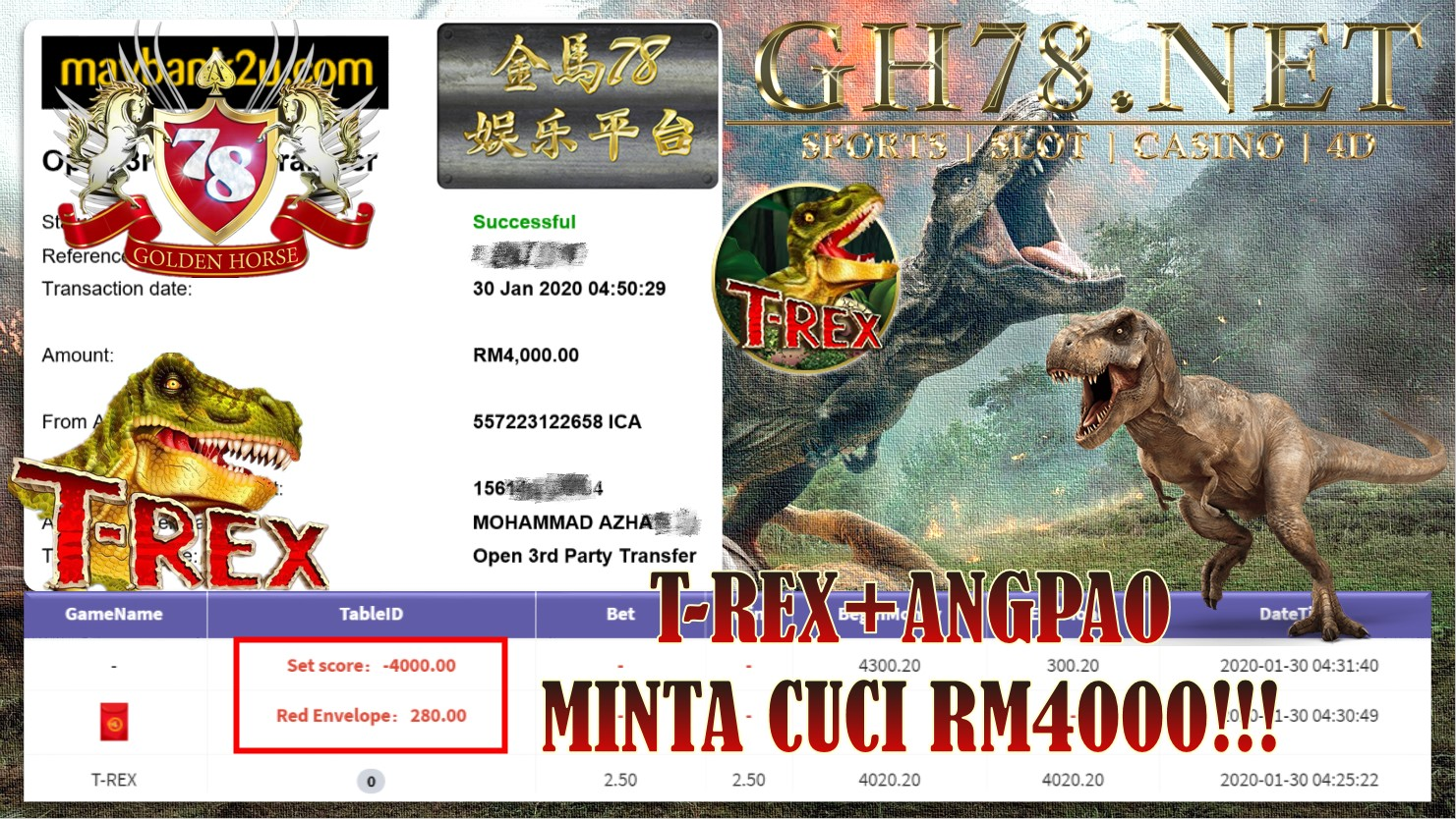 2020 NEW YEAR !!! MEMBER MAIN 918KISS, T-REX , WITHDRAW RM4000!!!!