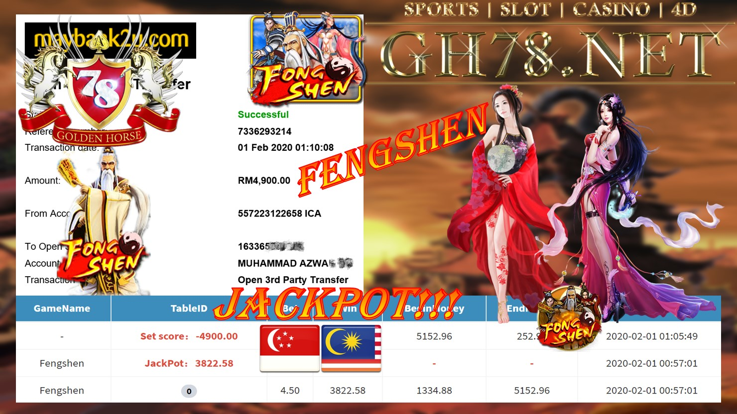 2020 NEW YEAR !!! MEMBER MAIN PUSSY888 , FENGSHEN , WITHDRAW RM4900 !!!