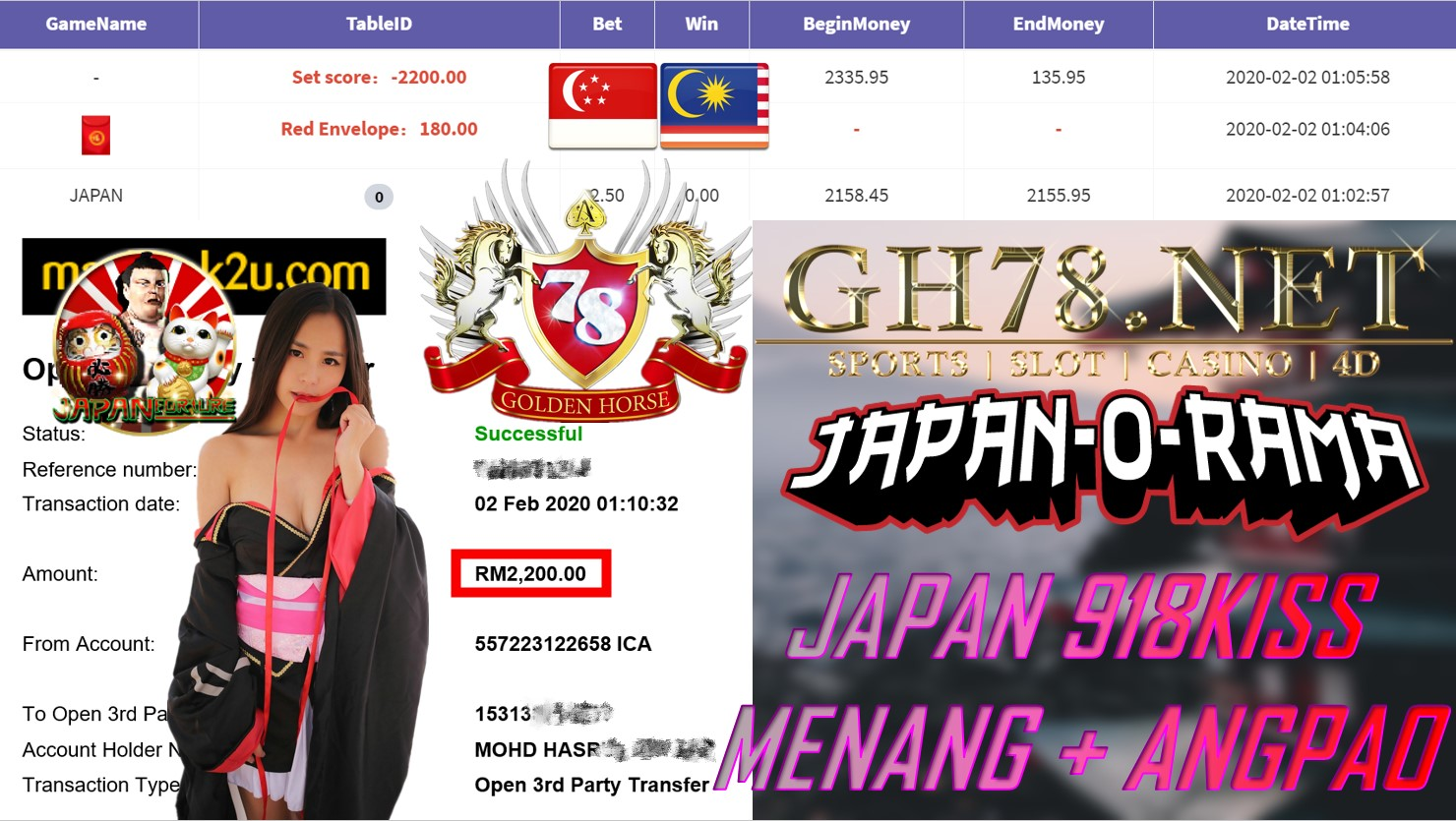 2020 NEW YEAR !!! MEMBER MAIN 918KISS, JAPAN + ANGPAO ,WITHDRAW RM2200 !!!