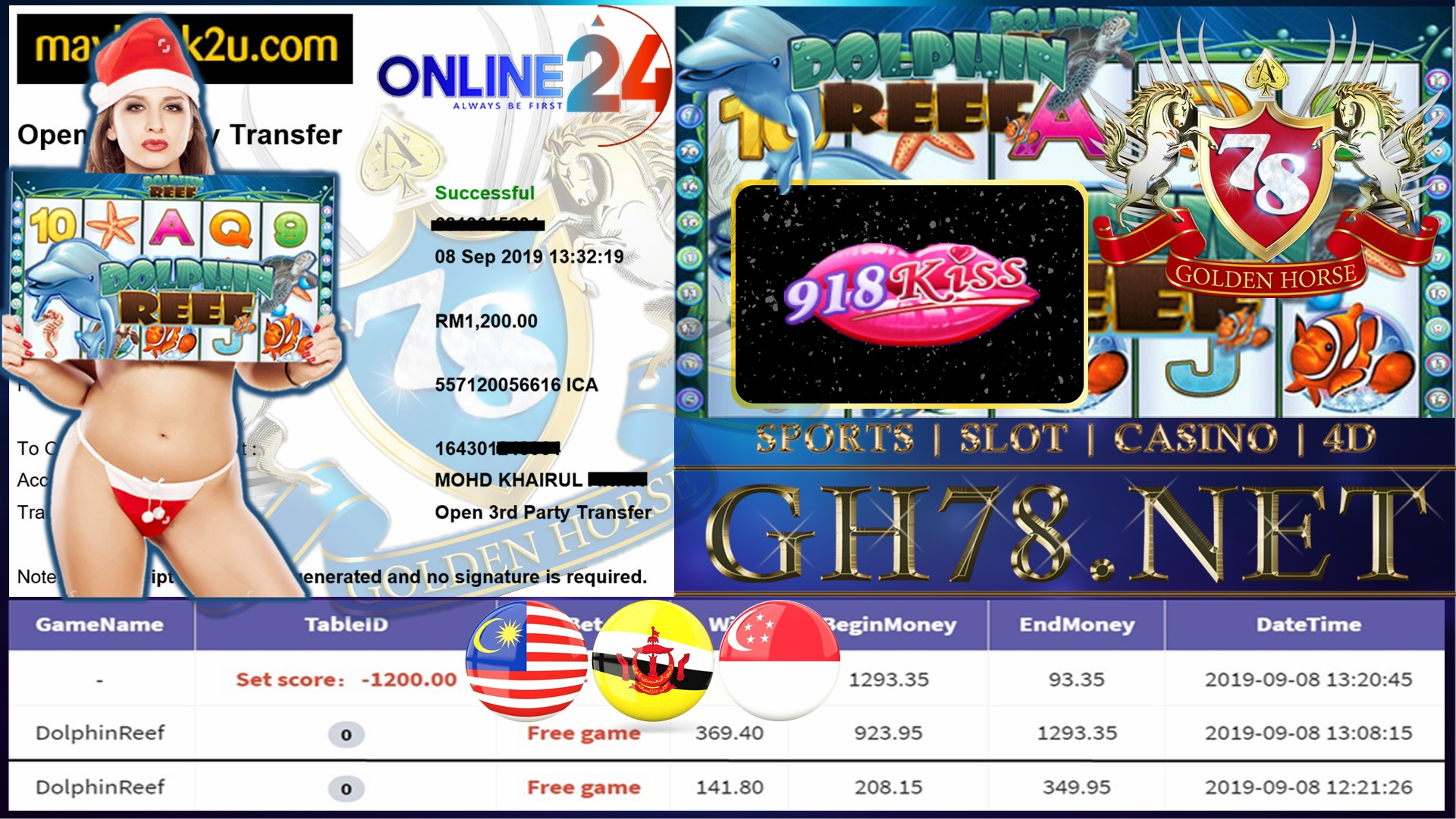 MEMBER MAIN GAME 918KISS FT.DOLPHIN REEF MINTA OUT RM1,200