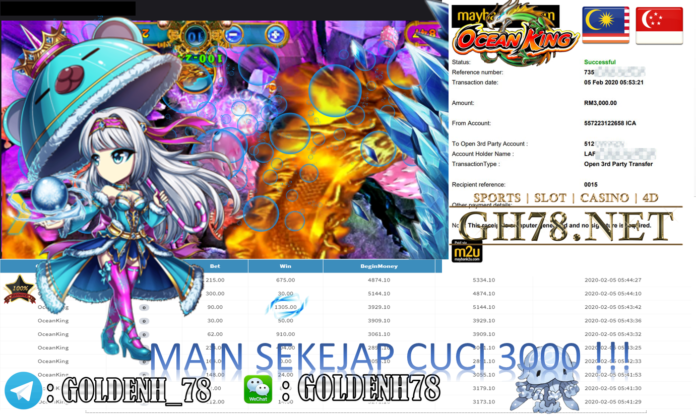 2020 NEW YEAR !!! MEMBER MAIN MEGA888, OCEAN KING , WITHDRAW RM3000!!!