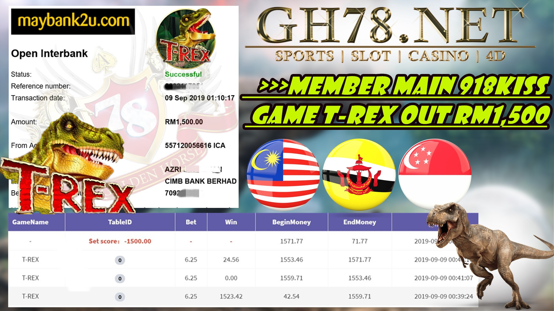 MEMBER MAIN GAME 918KISS FT.T-REX MINTA OUT RM1,500