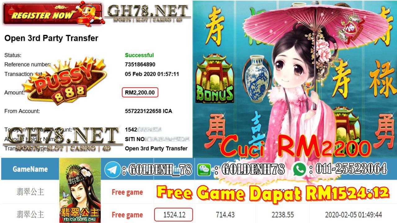 MEMBER MAIN PUSSY888 GAME 翡翠公主 MINTA CUCI RM2200 !!!
