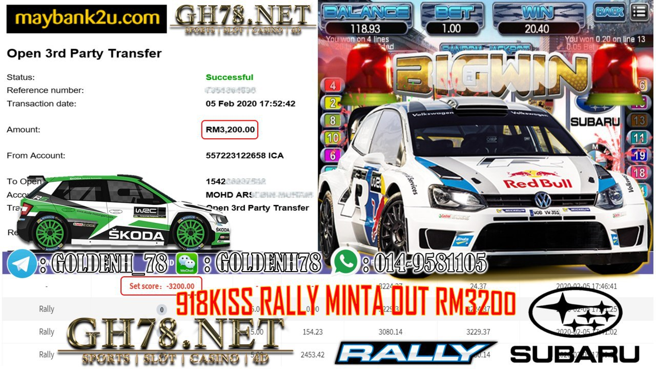 MEMBER MAIN 918KISS GAME RALLY MINTA RM3200!!!!
