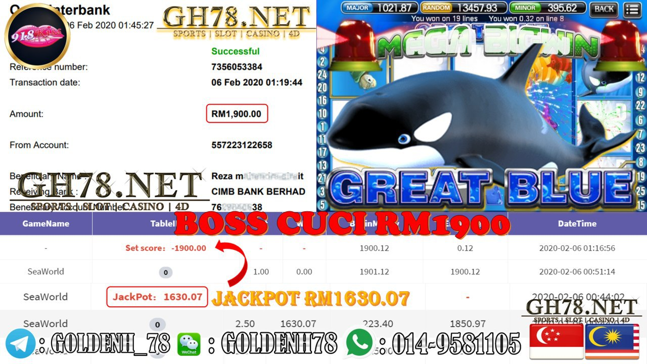 2020 NEW YEAR !!! MEMBER MAIN 918KISS, GREAT BLUE , WITHDRAW RM1900 !!!