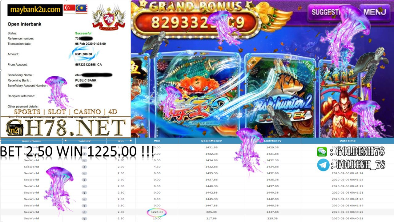 2020 NEW YEAR !!! MEMBER MAIN PUSSY888, SEAWORLD , WITHDRAW RM1300!!!