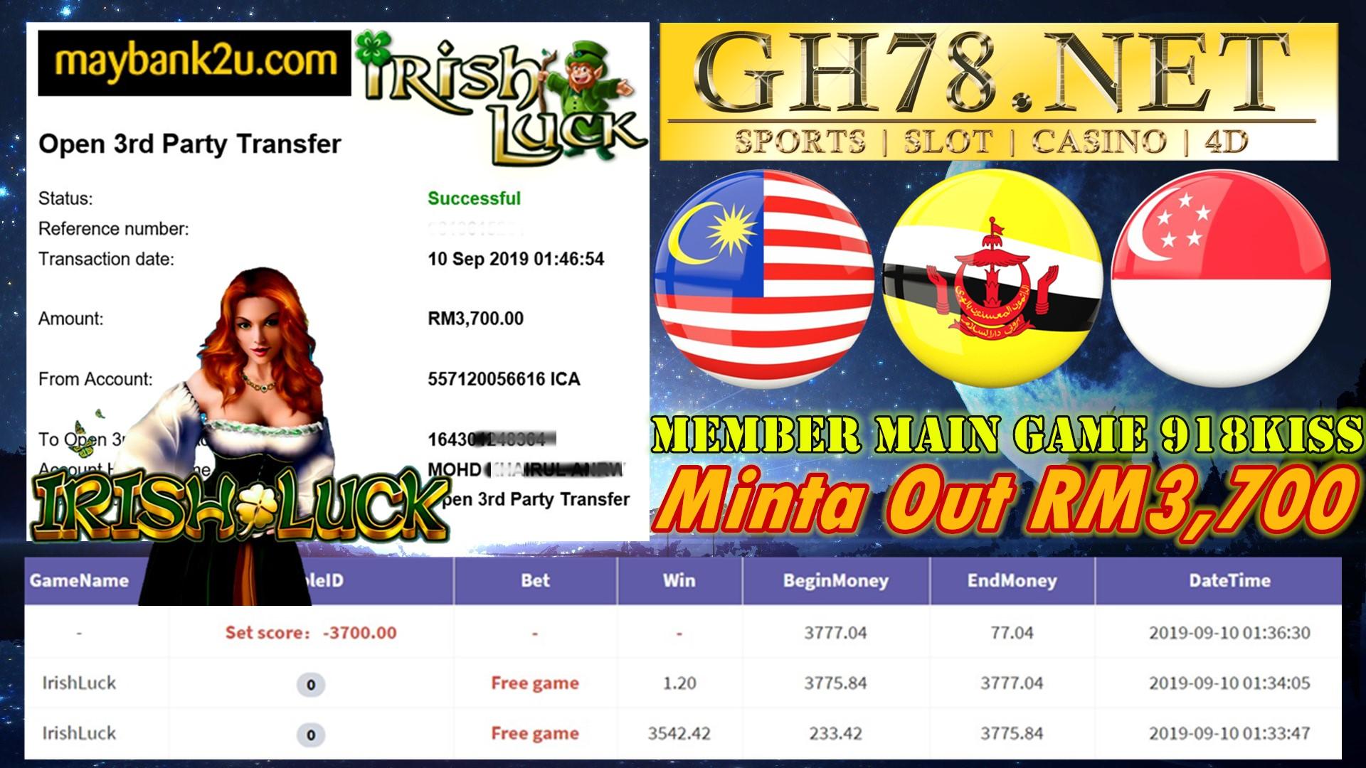 MEMBER MAIN GAME 918KISS FT.IRISHLUCK MINTA OUT RM3,700