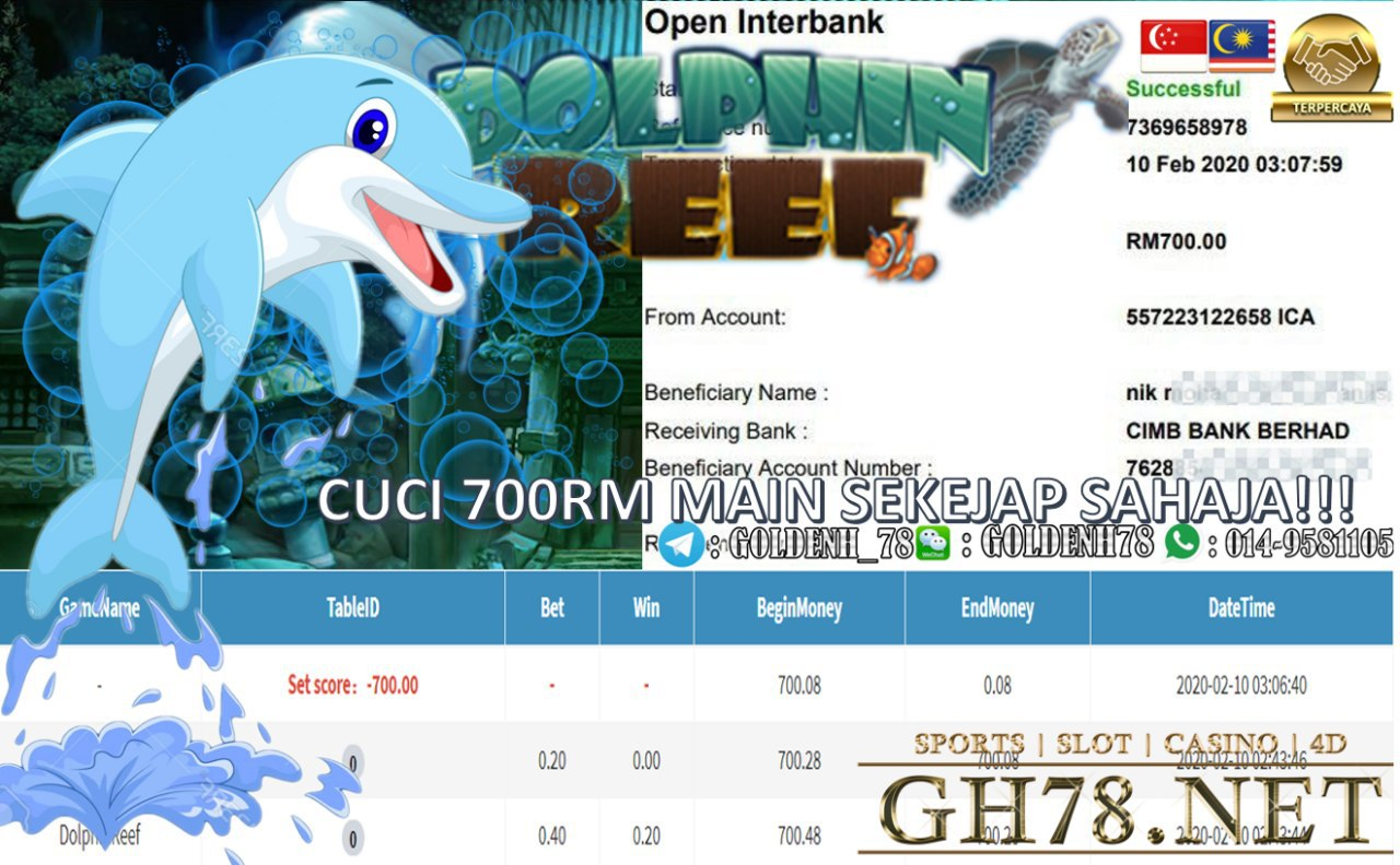 2020 NEW YEAR !!! MEMBER MAIN SERVER PUSSY888 , GAME DOLPHIN REEF , WITHDRAW RM700 !!!