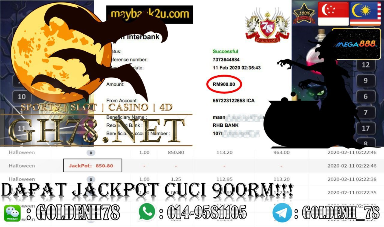 2020 NEW YEAR !!! MEMBER MAIN MEGA888, HALLOWEEN (JACKPOT) , WITHDRAW RM900!!