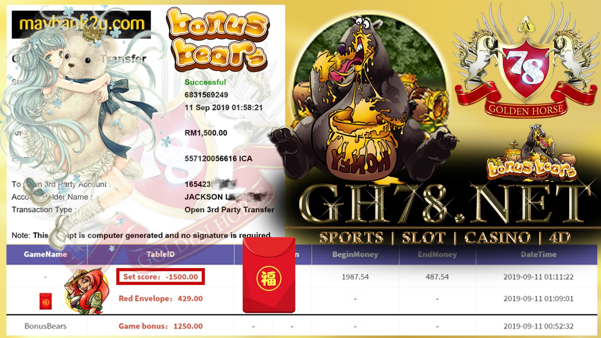 MEMBER MAIN GAME 918KISS FT.BONUSBEARS DPT ANGPAO RM429 MINTA OUT RM1,500