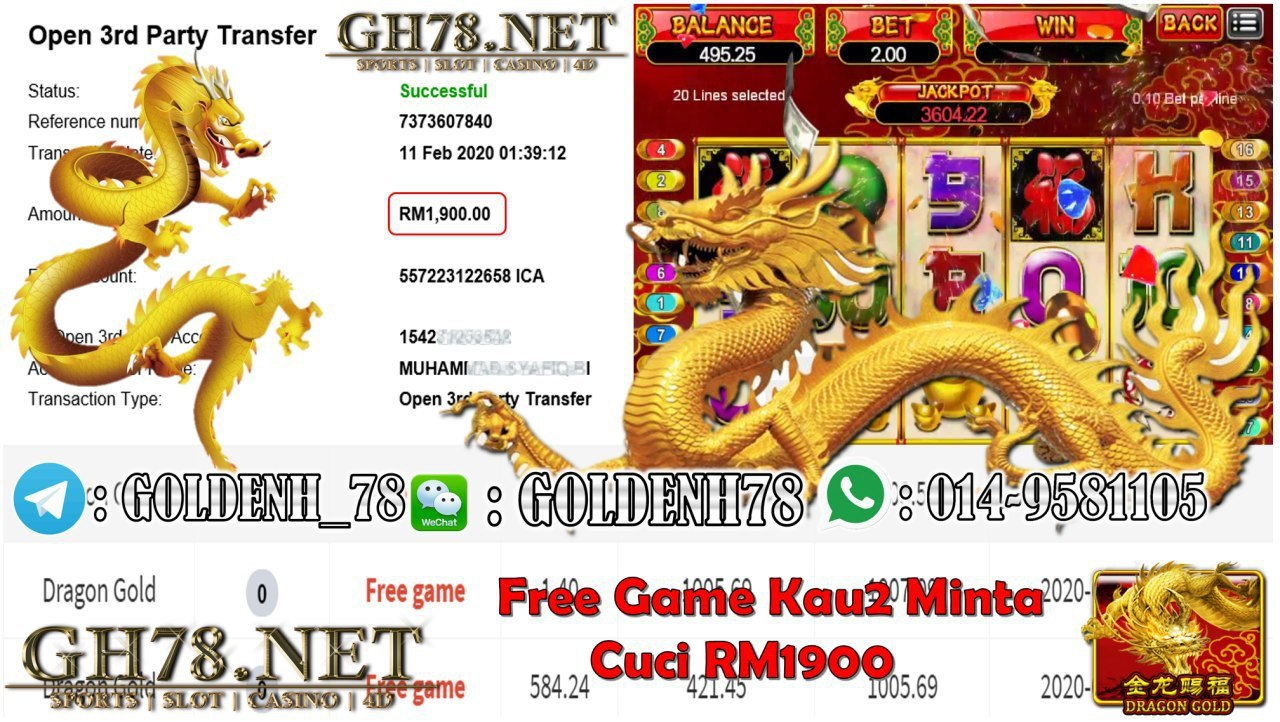 2020 NEW YEAR !!! MEMBER MAIN 918KISS, GOLD DRAGON , WITHDRAW RM1900!!