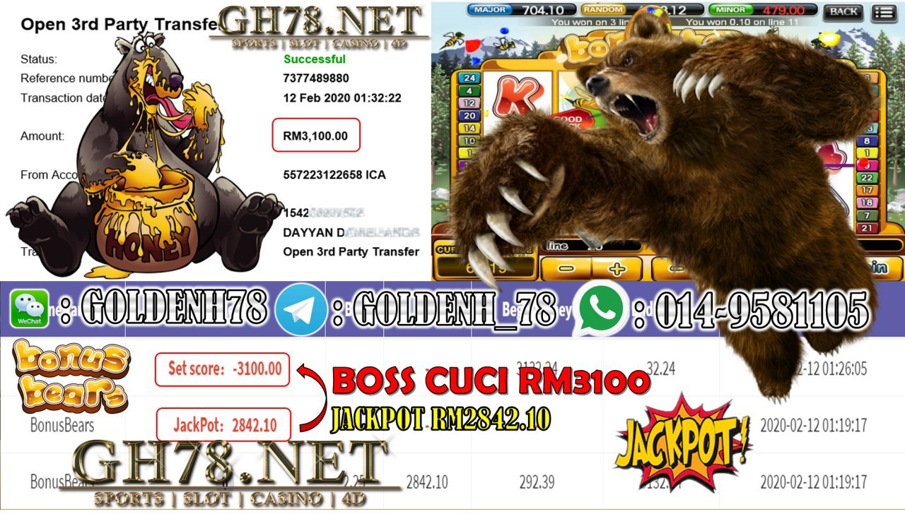 2020 NEW YEAR !!! MEMBER MAIN 918KISS, BONUS BEAR (JACKPOT) , WITHDRAW RM3100!!!