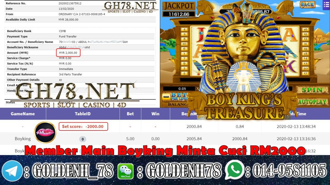 MEMBER MAIN 918KISS GAME BOYKING MINTA RM2000!!!!