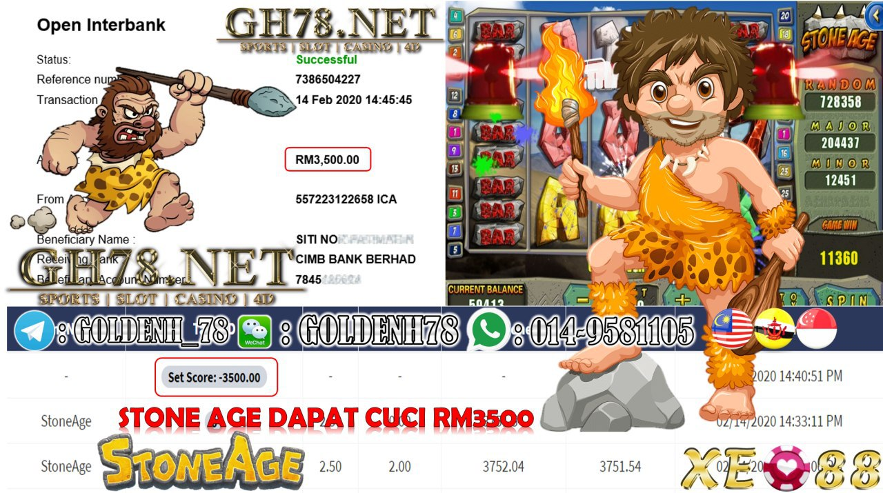 MEMBER MAIN XE88 GAME STONE AGE MINTA OUT RM3500!!!!