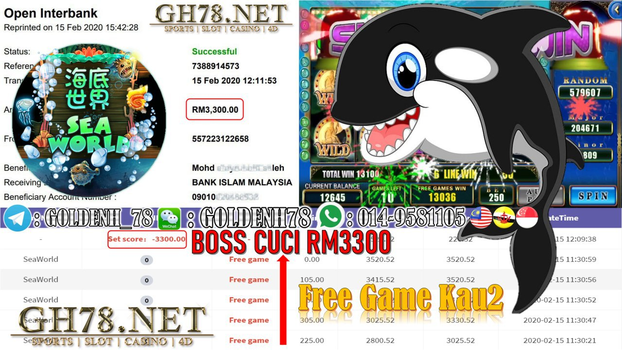 MEMBER MAIN 918KISS GAME SEAWORLD MINTA OUT RM3300!!!!