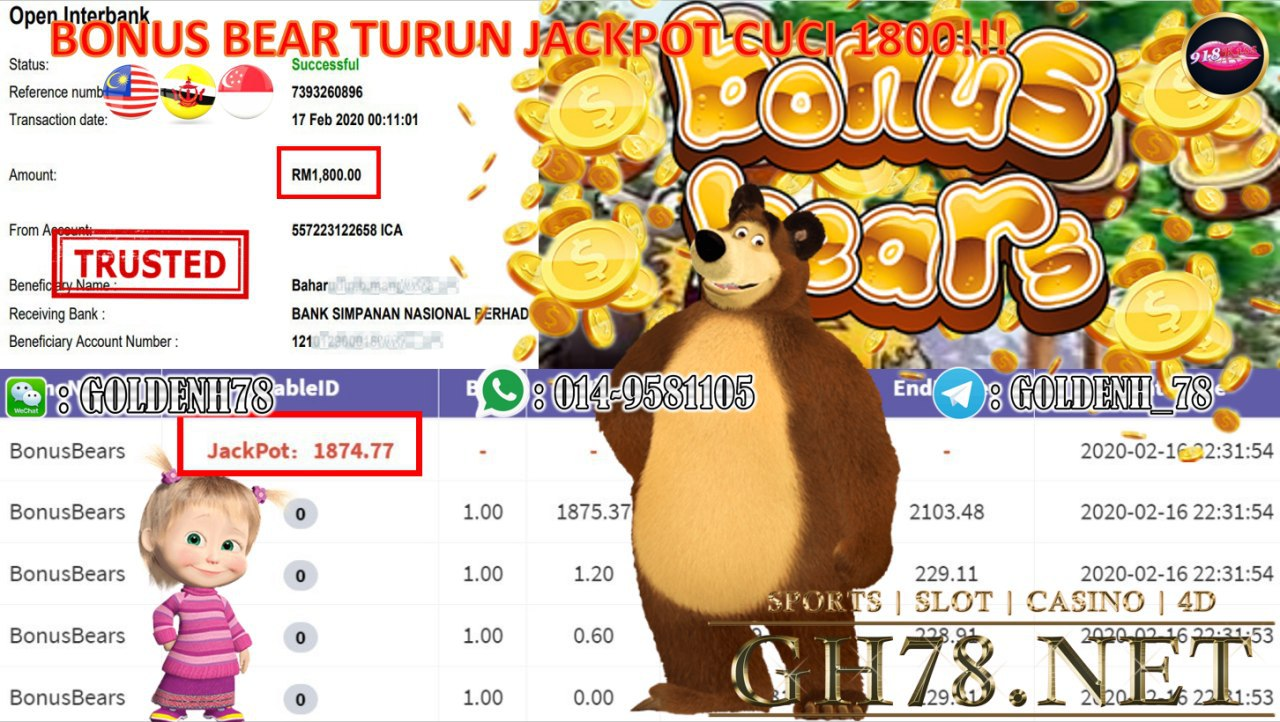 2020 NEW YEAR !!! MEMBER MAIN 918KISS , B0NUS BEAR (JACKPOT) , WITHDRAW RM1800! !