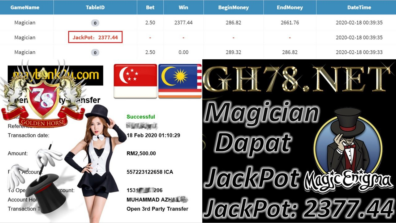 2020 NEW YEAR !!! MEMBER MAIN MEGA888, MAGICIAN (JACKPOT) , WITHDRAW RM2500!!