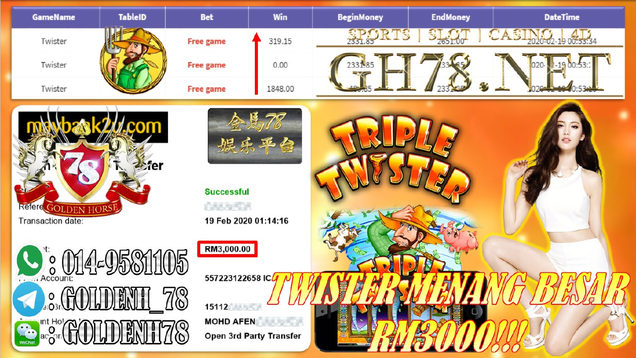 2020 NEW YEAR !!! MEMBER MAIN 918KISS, TRIPLE TWISTER, WITHDRAW RM3000!!